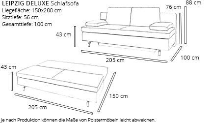 Schlafsofa LEIPZIG DELUXE von sofaplus Maße