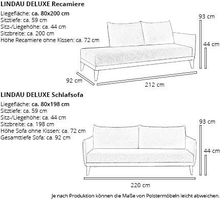 Einzelbett LINDAU DELUXE Maße