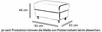 MÜNCHEN DELUXE Hockerbank von sofaplus Maße