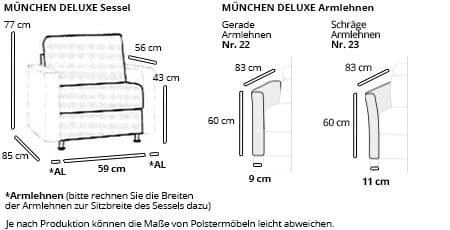 MÜNCHEN DELUXE Sessel von sofaplus Maße