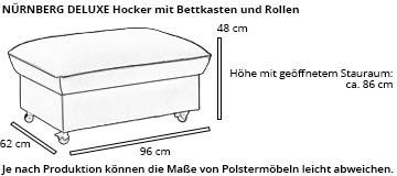 Hocker mit Stauraum NÜRNBERG DELUXE von sofaplus Maße