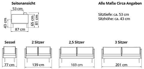 OSLO 2,5-Sitzer Designer Sofa von sofaplus Maße