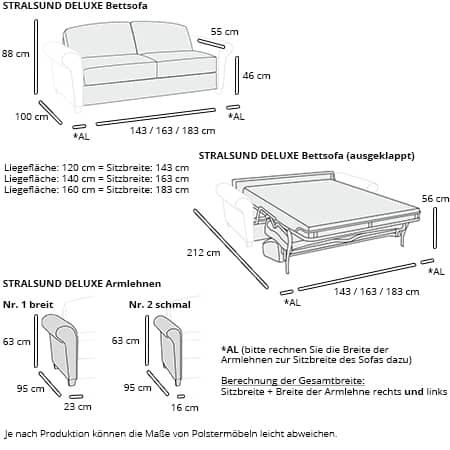 Schlafsofa STRALSUND DELUXE von sofaplus Maße