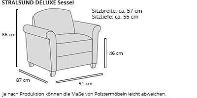 STRALSUND DELUXE Sessel von sofaplus Maße