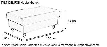 SYLT DELUXE Hockerbank von sofaplus Maße