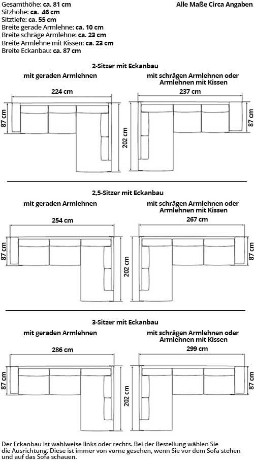 TRONDHEIM Ecksofa mit Eckanbau von sofaplus Maße