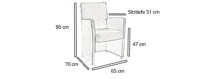 Sessel ULM DELUXE von sofaplus Maße