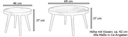 Hocker / Beistelltisch ALMA von Softline Maße
