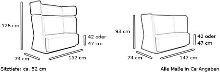 Sofa BASKET von Softline Maße