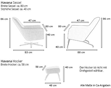 Softline HAVANA LOW Sessel und Hocker Maße