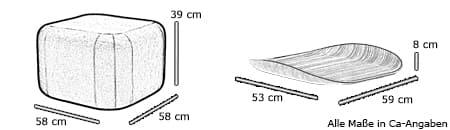 Hocker / Beistelltisch QUADRO von Softline Maße