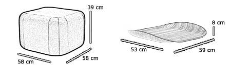 Sitzhocker mit Tablett QUADRO von Softline Maße