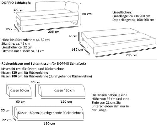 Schlafsofa DOPPIO von Swiss Plus Maße