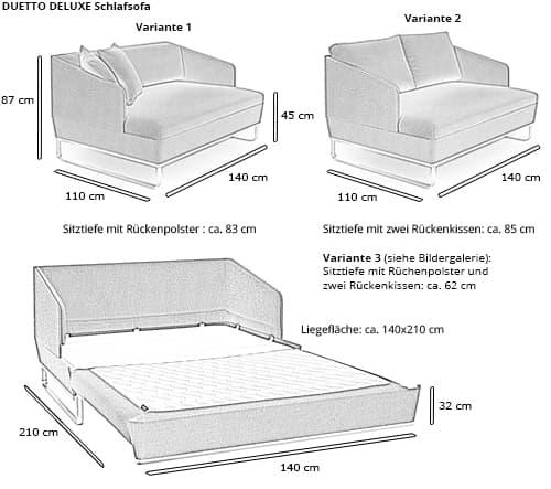 Schlafsofa DUETTO DELUXE von Swiss Plus Maße