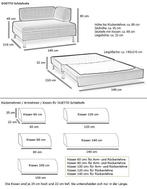 Schlafsofa DUETTO von Swiss Plus Maße