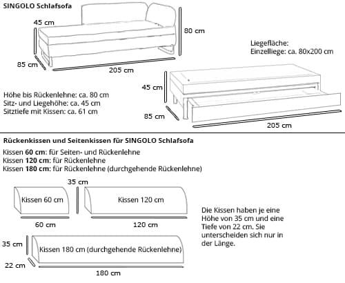 Schlafliege SINGOLO von Swiss Plus Maße